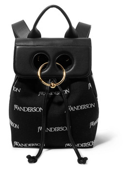 Pierce Mini Embroidered Canvas And Leather Backpack by Jw Anderson