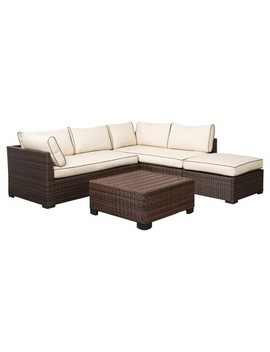 Loughran 4pc All Weather Wicker Patio Conversation Set   Brown/Ivory    Signature Design By Ashley by Signature Design By Ashley