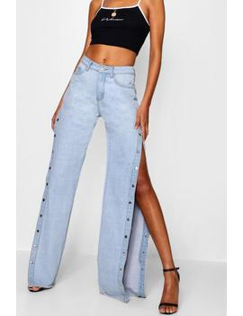 Tall Mila Popper Detail Wide Leg Jeans by Boohoo