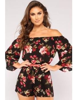 Second Wind Floral Romper   Black by Fashion Nova
