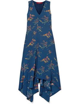 Exclusive Asymmetric Printed Crepe De Chine Midi Dress by Sies Marjan