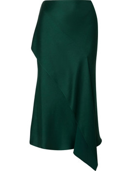 Draped Satin Crepe Midi Skirt by Jason Wu