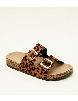 Tan Leopard Print Double Buckle Footbed Sandals by New Look
