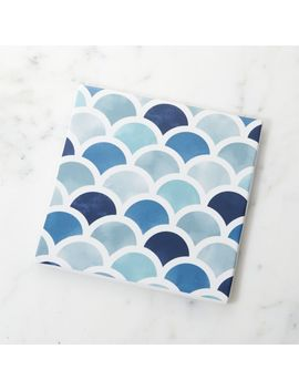 Scalloped Blue And White Trivet by Crate&Barrel
