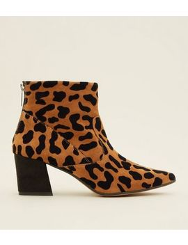 Tan Premium Suede Leopard Print Pointed Boots by New Look