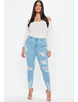 Curve Blue Sinner Highwaist Chew Hem Skinny Jean by Missguided