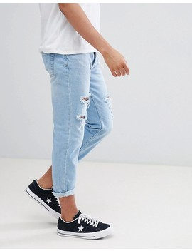 Mennace Slim Fit Tapered Crop Jean With Extreme Rips In Light Blue by Mennace