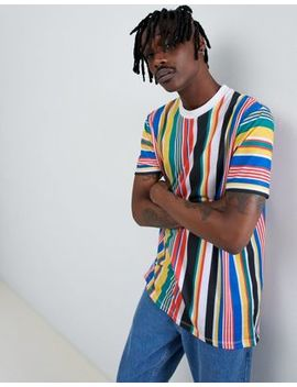 Asos Design Relaxed Longline T Shirt With Rainbow Vertical Stripe by Asos Design