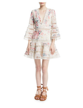 Laelia Diamond Flutter Eyelet V Neck Mini Dress by Zimmermann