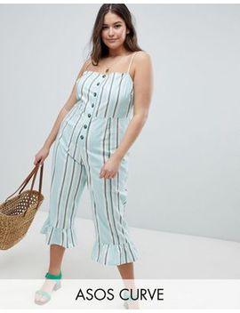 Asos Design Curve Cotton Frill Hem Jumpsuit With Square Neck And Button Detail In Variated Stripe by Asos Design