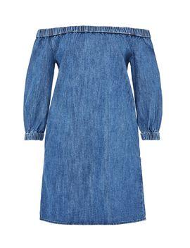 Off The Shoulder Denim Dress by Hallhuber