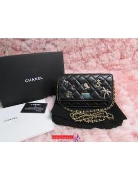 Auth 2017 Chanel Lucky Charms Reissue Wallet On Chain Woc Black Calfskin by Chanel