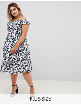 Uttam Boutique Plus Leaf Print Prom Dress by Asos Brand