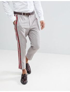 Asos – Schmal Zulaufende, Elegante Hose Mit Karierten Seitenstreifen by Asos