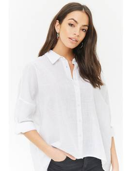 Button Front High Low Shirt by F21 Contemporary