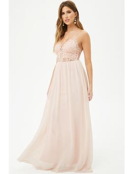 Embroidered Chiffon Gown by Forever 21