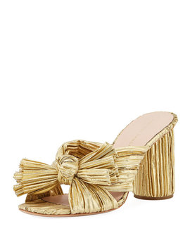Penny Pleated Lamé Slide Sandal by Loeffler Randall
