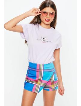 Blue Check Wrap Skort by Missguided