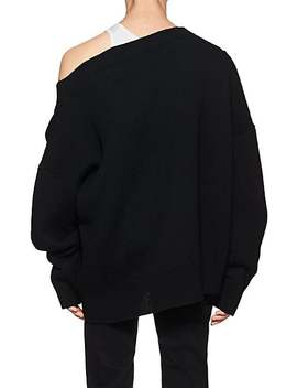 Rib Knit Wool Oversized V Neck Sweater by Raf Simons
