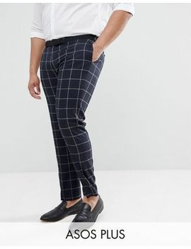 Asos Plus Wedding Skinny Suit Pants In Navy Windowpane Check by Asos Design
