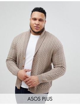 Asos Plus Knitted Cable Knit Cardigan In Tan by Asos