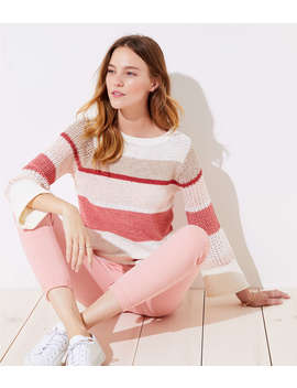 Petite Striped Stitched Sleeve Sweater by Loft