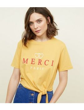Yellow Merci Heart Print Tie Side T Shirt by New Look