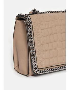Nude Double Chain Croc Print Bag by Missguided