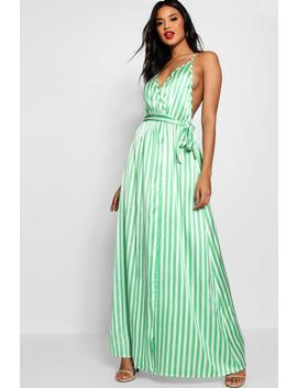 Jade Contrast Stripes Satin Slip Maxi by Boohoo