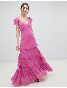 Asos Design Tiered Ruffle Maxi Dress by Asos Design