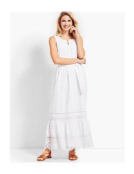 Pintucked Tiered Hem Gauze Maxi Dress by Talbots