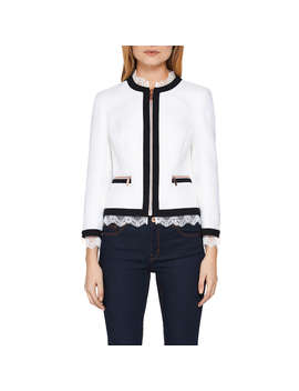 Ted Baker Ennio Lace Trim Cropped Jacket, White by Ted Baker