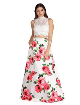 Amalia Ivory Floral Two Piece Gown by Windsor