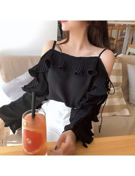 Ruffled Cutout Shoulder Blouse by With You