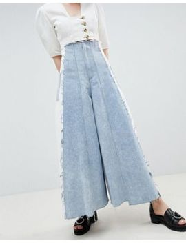 Asos Design Corset Wide Leg Jeans With Contrast Panel by Asos Design