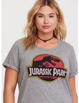 Jurassic World Grey Distressed Logo Tee by Torrid