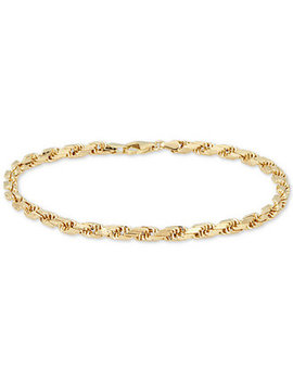 Men's Rope Chain Bracelet In 14k Gold, Made In Italy by Italian Gold