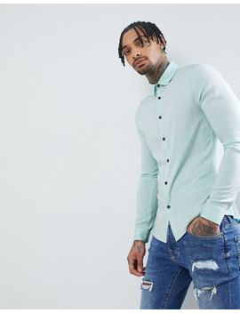 Asos Design Skinny Viscose Shirt In Pale Blue by Asos Design