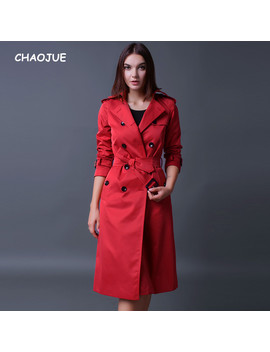 Chaojue Brand Trench Coat For Women 2018 Long Sleeve Double Breasted Plus Size Red Coat Female Luxury Pea Coat For Wife Gift by Ali Express