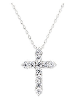 Silver Tone Crystal Cross Pendant Necklace, Created For Macy's by Danori