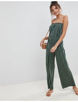 Asos Design Bandeau Jersey Jumpsuit With Wide Leg In Vertical Stripe by Asos Design