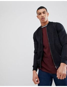 Pull&Bear Faux Suede Bomber Jacket In Black by Pull&Bear