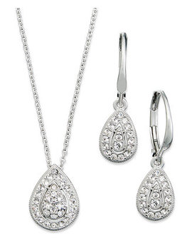 Jewelry Set, Rhodium Plated Crystal Teardrop Earrings And Pendant Necklace by Danori