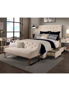 Republic Design House Manhattan Ivory Tufted Upholstered Queen Bedroom Collection With Sofa Bench Option by Generic