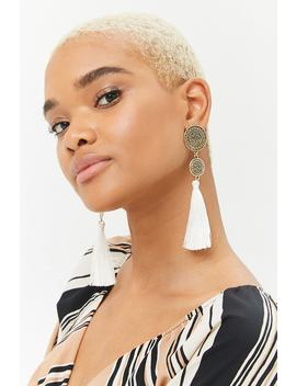 Double Disc Tassel Drop Earrings by Forever 21