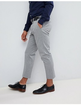 Asos Skinny Crop Smart Trouser In Grey Pinstripe by Asos Design