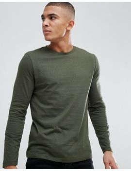 Asos Design Crew Neck T Shirt With Long Sleeves In Green by Asos