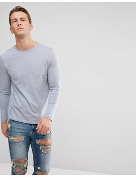 Asos Design Crew Neck T Shirt With Long Sleeves In Grey by Asos