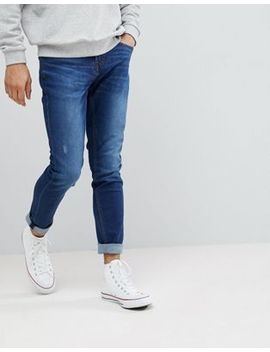 Pull&Bear Slim Jeans In Dark Blue by Pull&Bear
