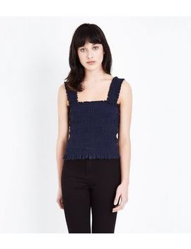 Navy Square Neck Shirred Vest by New Look